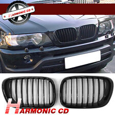 Fits BMW X5 E53 2000-2003 Shiny Black Front Hood Kidney Sport Grills Pair ABS