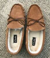 Clarks Mens Faux Fur Lined Suede Slippers Cinnamon Brown Size 10M Indoor Outdoor