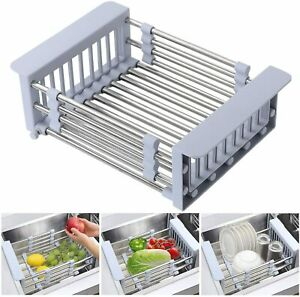 Expandable Dish Drying Rack Over Sink Stainless Steel Adjustable Basket Drainer