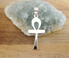 925 Sterling Silver - Plain Silver Ankh Cross Pendant Small & Light