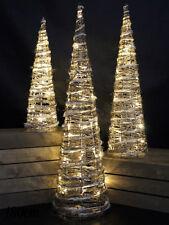 Pre-Lit Rattan Pyramid Christmas Tree Set of 3 Warm White LEDs Xmas Decoration
