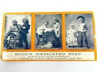 1880s VICTORIAN TRADE CARD antique advertising ad HOOD'S MEDICATED SOAP Children