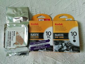 Kodak black ink cartridges 10B, 10XL and colour cartridge 10C (see description)