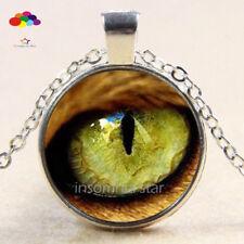 Vintage Cabochon Tibetan Silver Glass snake eye Chain Pendant Necklace zqd101
