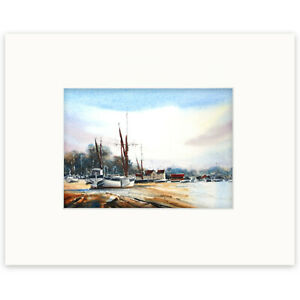 Pin Mill, River Orwell, Suffolk, Original Watercolour Painting by Ben Jackson