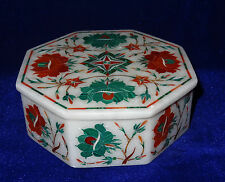 White Marble Jewelry Boxes Storage Malachite Hakik Inlay Home newyear Gifts Arts