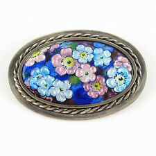 Vintage Camille Faure Limoges France Pin Brooch Enamel Flower Design