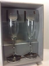 "9"" Hortense B. Hewitt Co. 'Bride & Groom' Champagne TOASTING FLUTE GLASSES"