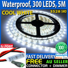 5m Flexible Bright LED Strip Lights 12V Waterproof 3528 SMD Cool White 300 LEDs