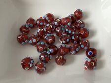 European Beads rot gemustert Anhänger Glas Lampwork 8 mm 30 Stück B76