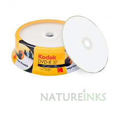 25 Kodak White inkjet Printable Blank DVD-R 16x 4.7GB 120 mins Discs Cakebox