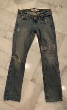 Abercrombie & Fitch Blue Jeans Size 2S Distressed Destroyed Low Rise Rip Casual