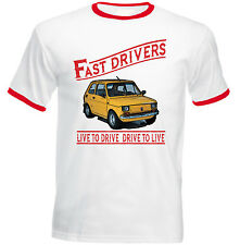 POLISH MALUCH FIAT 126P YELLOW FAST DRIVERS - COTTON TSHIRT - ALL SIZES IN STOCK