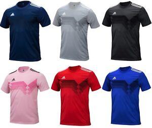 Adidas Men CAMPEON 19 Shirts S/S Soccer Jersey Black Blue Climalite Shirt DU4390