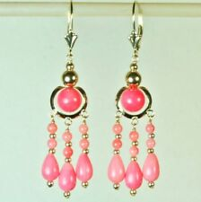 14k solid yellow gold chandelier natural Pink Coral earrings leverback 4.1 grams