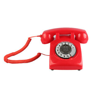 Rotary Retro Rotary Dial Bell Desk Phone Red