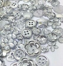 200 SILVER Buttons, Flatbacks and Embellishments Mix Cardmaking Craft Random