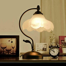 Rustic White Glass Floral Shade Black Metal Bedroom Table Light Beside Desk Lamp