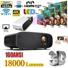 18000 Lumens Mini LED Projector Video 1080P HD WiFi 3D Theatre Home Cinema HDMI