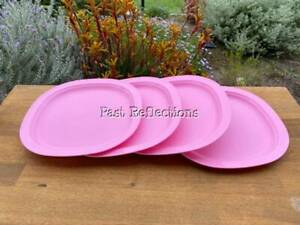 TUPPERWARE SQUARE LUNCHEON PLATE SET/4 MICROWAVE REHEATABLE BABY PINK