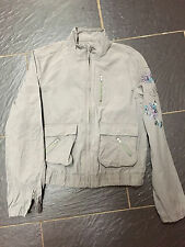 RIVER ISLAND GREY EMBROIDERED SEQUIN DENIM JACKET STYLE SIZE 10
