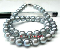 """AAAAA 18""""12-13mm Natural REAL ROUND south sea silver gray pearl necklace 14K"""
