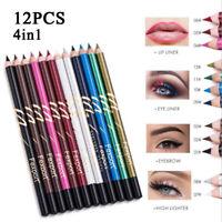 12Pcs Lots Sourcils Eyeliner Maquillage Crayon à Lèvres Imperméable Eye Liner