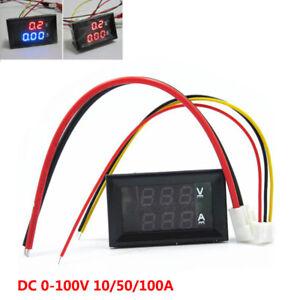 DC 10/50/100A Voltmeter Ammeter LED Dual Digital Volt Amp Meter Test Tester