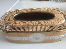 taschentuchbox Tissue Box   - Porzellan - MEDUSA Gold Weiß