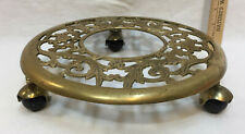 Brass Plant Stand Dolly Caster Wheels Rolling Ornate Scroll Vintage 3 Wheels