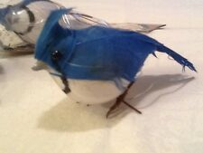 NEW! 2 BLUE/WHITE ARTIFICIAL BIRDS FOR FLORAL CRAFTS! 3 1/2 INCHES LONG