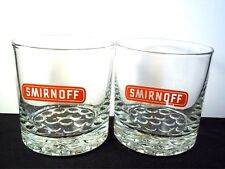 New listing Pair of round rocks cocktail glasses Smirnoff Vodka red on clear 8 oz