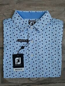 NEW FootJoy Mens Lisle Daisy Print Golf Polo Medium Lagoon 26546