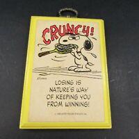 Vintage Peanuts Wall Plaque Hallmark Snoopy Tennis Racket Losing Winning Racquet