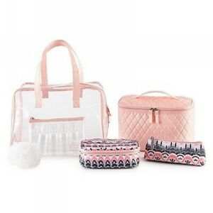 Accessories Le Sophistique 10pc Bag Set Pink Quilted Bo Ho Cosmetic Travel Tote