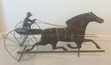 Vintage Copper SULKY DRIVER & HORSE WEATHERVANE 20th century