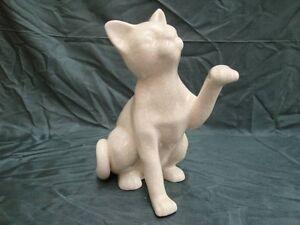 Statue Figurine Chat Animalier Style Art Deco Style Art Nouveau Craquele