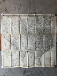 Antique 1911 Railroad & County Map of TEXAS Woodward & Tiernan Printing Co