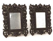 Paire miroirs glaces cadre ébonite angelots colonnes Napoléon III XIXème