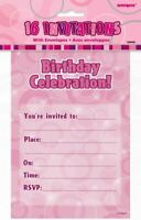 GLITZ PINK NOTEPAD INVITATIONS PACK OF 16 PARTY INVITES