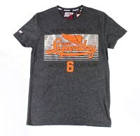 Superdry Mens T-Shirt Black Gray Small S Marled Limit Fade Graphic Tee $29 095