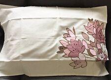 COPPIA di Federe Crema desiderio con rosa, lilla, viola RICAMO e applique