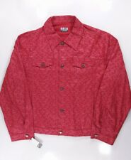 Iceberg Jeans Men's All Over Print Logo Red Denim Button Jacket Shirt, Size 3XL