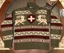 Ralph Lauren Hand Knit 100% Wool Turtle Side Button Neck Sweater Sz Medium Olive