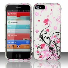 For iPhone 5 5S SE Rubberized HARD Protector Case Snap On Phone Cover Pink Vines