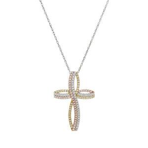 Diamonique Tri-Color Cross Pendant w/ Chain, Sterling New Qvc $100