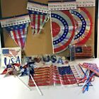 Mix Lot 14 Piece Patriotic Banners Bunting Flags Napkins Spinners USA Decor New