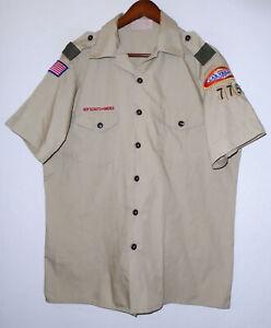 BOY SCOUTS Of America Uniform Shirt BSA #775 Scout Vtg USA Adult Mens : LARGE Lg