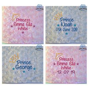 PERSONALISED BABY BLANKET ROSEBUD PRINCE PRINCESS BLUE PINK BOY GIRL GIFT