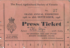 Royal Agricultural Society Victoria 1946 Exhibition entry ticket for the press